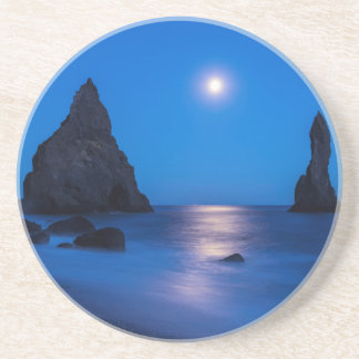 Moonrise reflection on ocean and sea stacks coaster