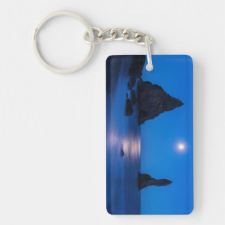 Moonrise reflection on ocean and sea stacks key ring