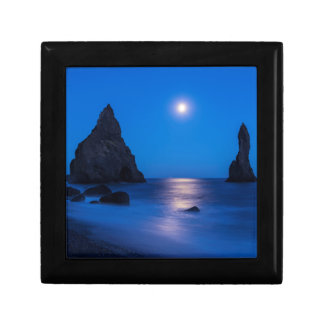 Moonrise reflection on ocean and sea stacks small square gift box
