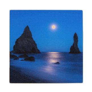 Moonrise reflection on ocean and sea stacks wood coaster