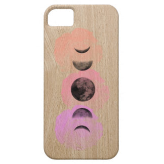Moons and Roses Light Woodgrain Phone Case Design