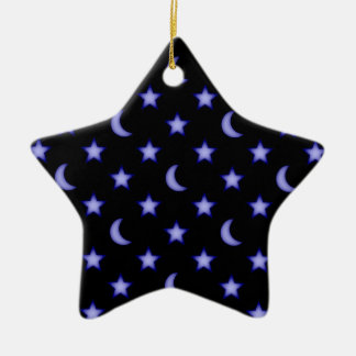 Moons and stars pattern christmas ornament