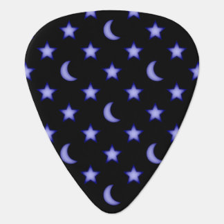 Moons and stars pattern guitar pick