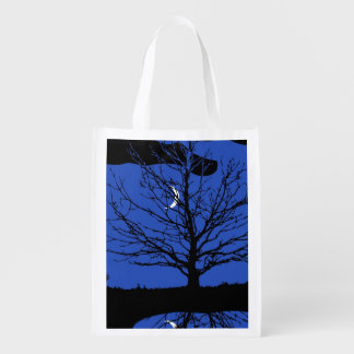 Moonscape in Cobalt Blue and Black Reusable Grocery Bag