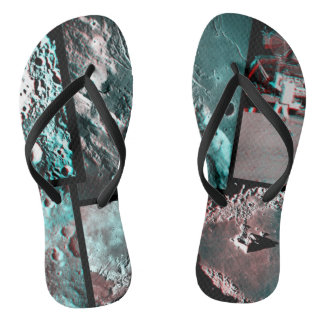 Moonscape Space Photo Anaglyph Mosaic Flip Flops