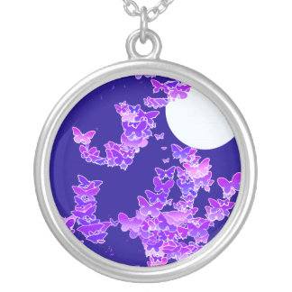 Moonscape with butterflies - lilac, dark blue round pendant necklace