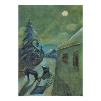 Moonscape with horse by Walter Gramatte Print