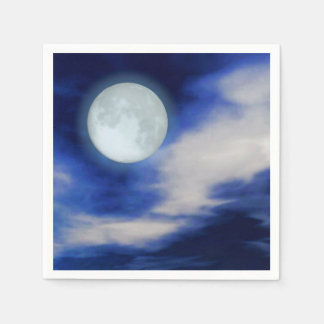 Moonscape with moonlit clouds paper napkin