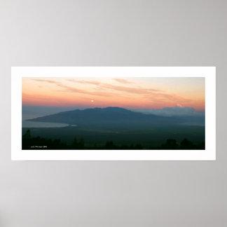 Moonset at Sunrise - Maui Poster