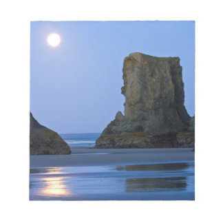 Moonset, Bandon Beach, Oregon. Notepad