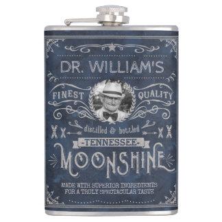 Moonshine Vintage Hillbilly Medicine Custom Blue Hip Flask