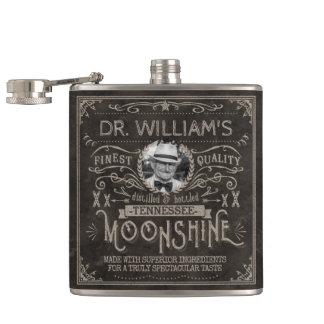 Moonshine Vintage Hillbilly Medicine Custom Brown Hip Flask