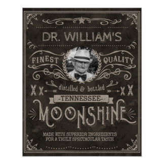 Moonshine Vintage Hillbilly Medicine Custom Brown Poster
