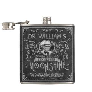 Moonshine Vintage Hillbilly Medicine Custom Gray Hip Flask