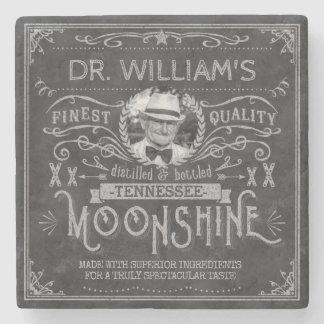 Moonshine Vintage Hillbilly Medicine Custom Gray Stone Coaster