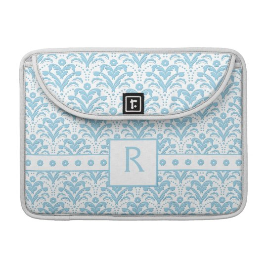 Moonstone Blue Pretty Art Deco Retro Floral Damask MacBook Pro Sleeve