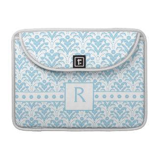 Moonstone Blue Pretty Art Deco Retro Floral Damask Sleeve For MacBook Pro