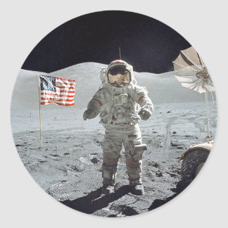 Moonwalk...Astronaut with American flag Classic Round Sticker