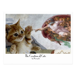 """Moooosterpiece series: """"The Creation of Cute"""" Postcard"""