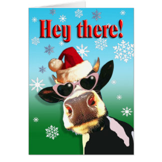 Mooootiful Christmas Cow Santa Hat Greeting Cards