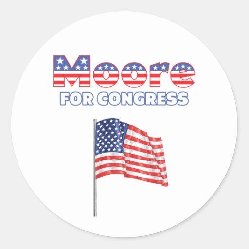 Moore for Congress Patriotic American Flag Round Sticker