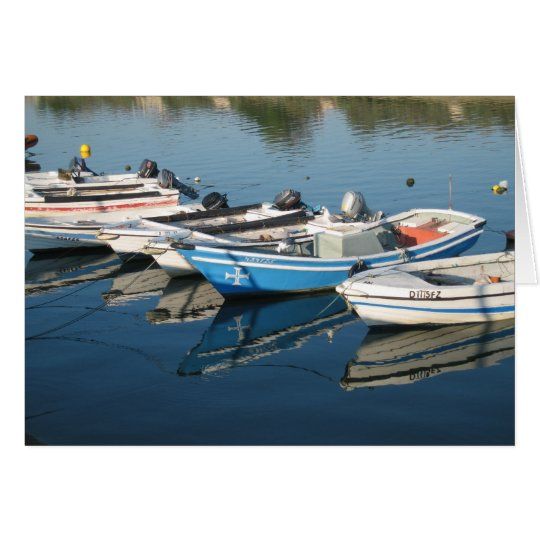 Moored boats blank card