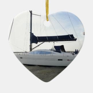 Moored Sailboat At Dawn Ceramic Heart Decoration
