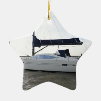 Moored Sailboat At Dawn Christmas Ornament