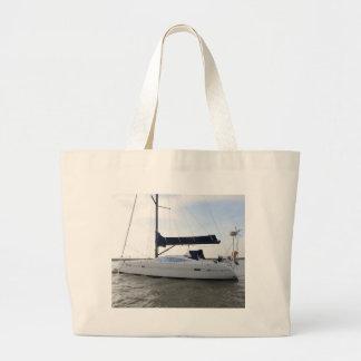 Moored Sailboat At Dawn Large Tote Bag