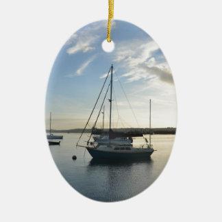 Moored yacht at dawn. christmas ornament