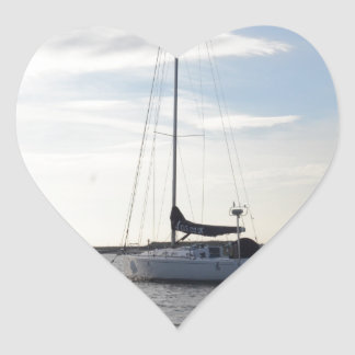 Moored Yacht At Dawn Heart Sticker