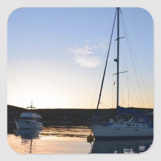 Moored Yachts At Dusk Square Sticker