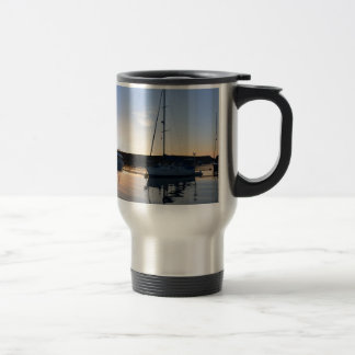 Moored Yachts At Dusk Travel Mug
