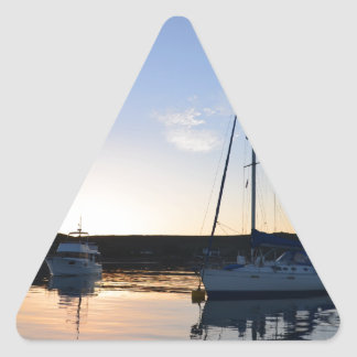 Moored Yachts At Dusk Triangle Sticker