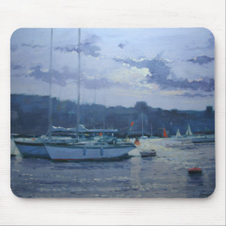 Moored yachts late afternoon mouse mat