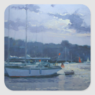Moored yachts late afternoon square sticker