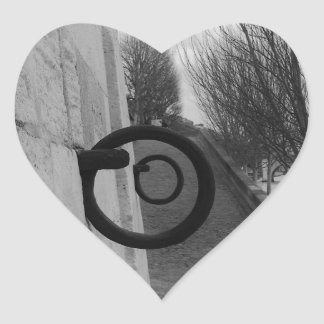 Mooring rings on the Seine. Heart Sticker