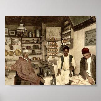 Moorish coffee house, Algiers, Algeria vintage Pho Poster
