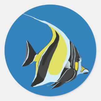 Moorish idol fish (gill) round sticker