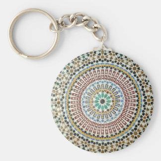Moorish Tile Basic Round Button Key Ring