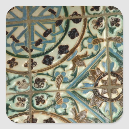 Moorish tile square sticker