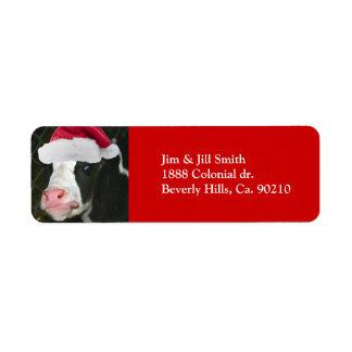 Moory Cow Christmas Return Address Label