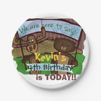 Moose and bear Birthday Paper Plate