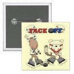Moose and Bear Hockey Face Off Tshirts and Gifts Pin