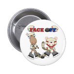 Moose and Bear Hockey Face Off Tshirts and Gifts Pinback Buttons