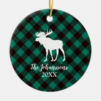 Moose and Buffalo Green Plaid Pattern Christmas Christmas Ornament