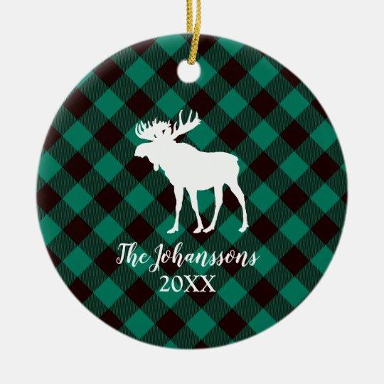 Moose and Buffalo Green Plaid Pattern Christmas Christmas