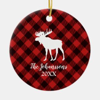 Moose and Buffalo Red and Black Plaid Christmas Christmas Ornament