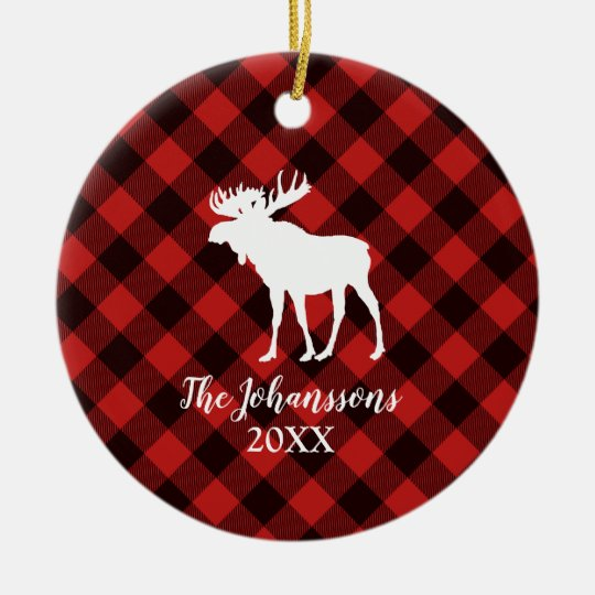 Moose and Buffalo Red and Black Plaid Christmas