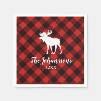 Moose and Buffalo  Red and Black Plaid Christmas Paper Napkin